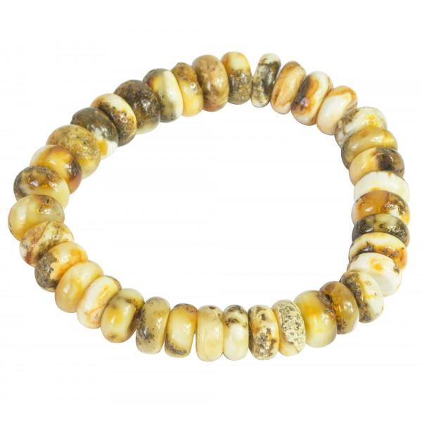 Bracelet d'ambre blanc brut semi-poli