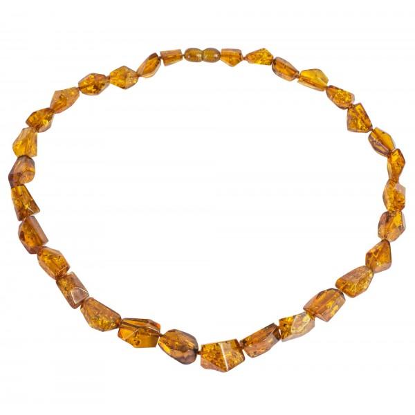 Collier d'ambre véritable couleur cognac, taille irrégulière