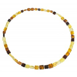 Amber necklace multicolored square shape