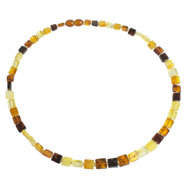 Collier ambre multicolore forme carré