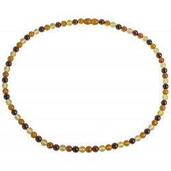 Perfecly round beads multicolore amber necklace