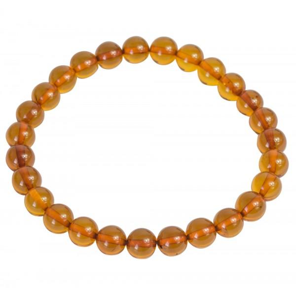 Bracelet d'ambre cognac perle extra ronde
