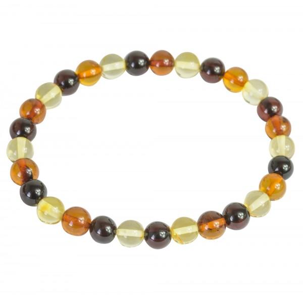 Bracelet d'ambre adulte multicouleurs, perle extra ronde