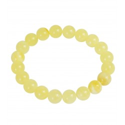 Bracelet en ambre blanc véritable, perle extra ronde