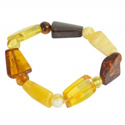 Bracelet en ambre multicolore avec 2 tailles de pierres