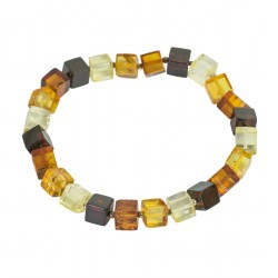Amber bracelet multicolored square shape