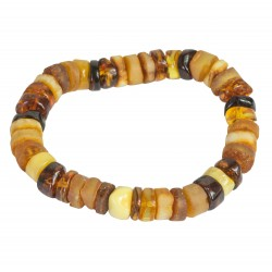 琥珀手链多色 - 抛光和粗糙的圆石