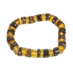 Bracelet en ambre multicouleur - pierres rondes polis et bruts