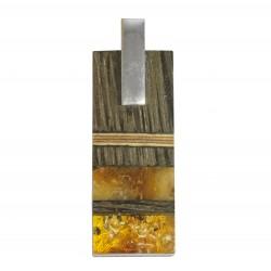 Colgante de ámbar amarillo y real, plata y madera preciosa