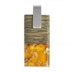 Pendant Wood, Amber Honey & Silver 925/1000