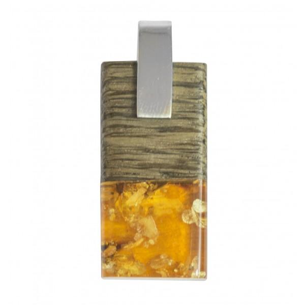 Pendentif Bois, Ambre miel & Argent 925/1000