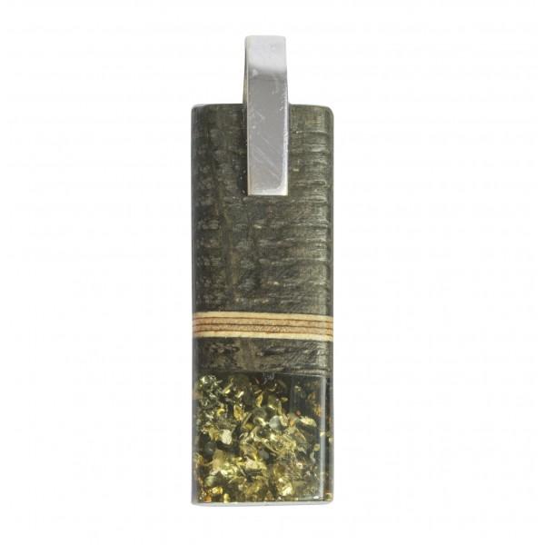 Pendentif Bois précieux, ambre vert & Argent 925/1000