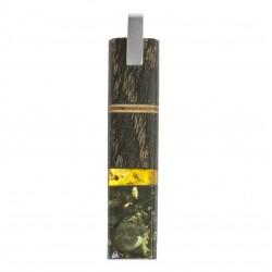Colgante largo de madera preciosa, miel ámbar y verde con marco de plata