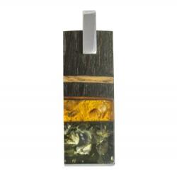 Pendentif Bois précieux, ambre miel et vert sur argent massif