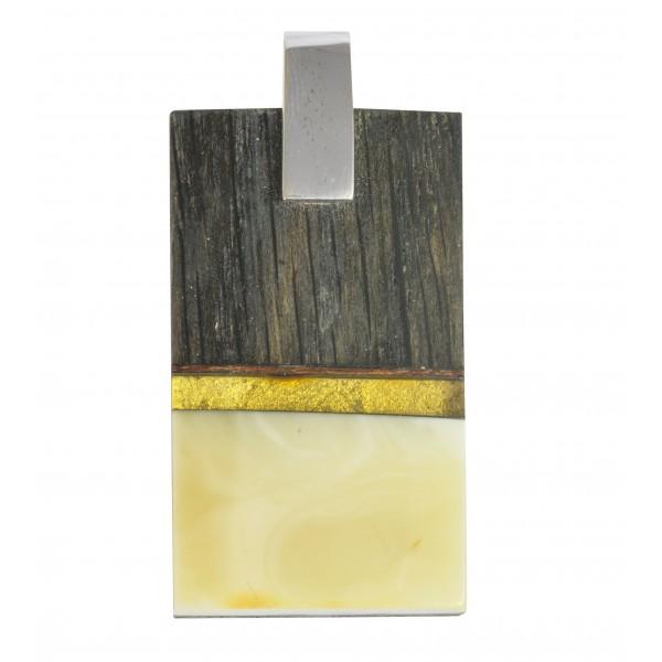 Larget pendentif ambre royal, bois précieux & argent 925/1000
