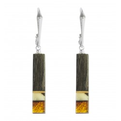 Precious wood earrings, sterling silver and amber honey and royal