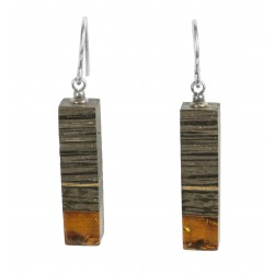 Long earrings precious wood and amber cognac