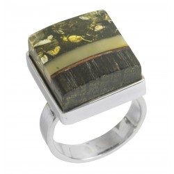 Ring Edelholz, grün und königs Bernstein auf massive Silbermontierung