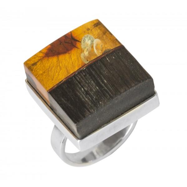 Bague bois précieux, ambre miel & argent massif