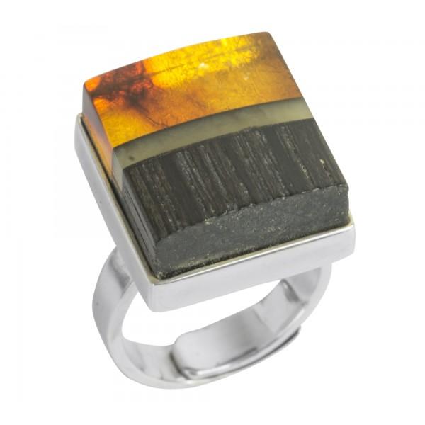 Bague bois précieux, bande d'ambre royal et ambre miel sur argent 925/1000