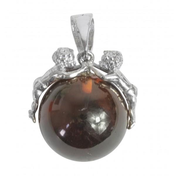 Pendentif perle d'ambre cerise et ange en argent 925/1000