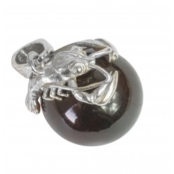 925/1000 silver and lobster amber pearl pendant