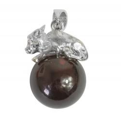 Pendentif perle d'ambre cerise et Buffalo argent 925/1000