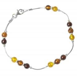 Bracelet perle d'ambre multi-couleur et argent 925/1000