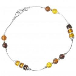Bracelet en ambre multi-couleur et argent 925/1000