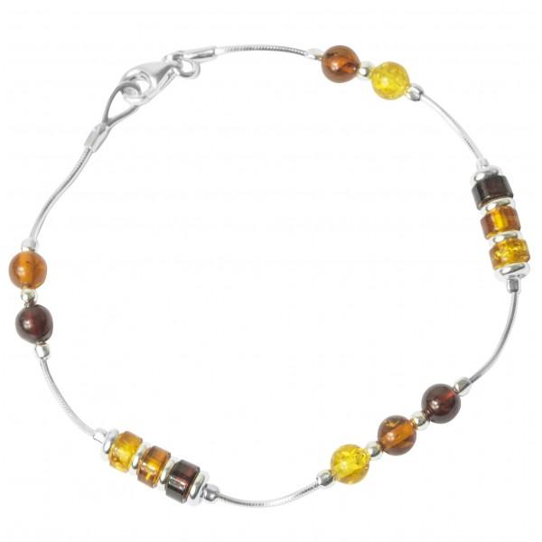 Bracelet ambre multi-couleur et argent 925/1000