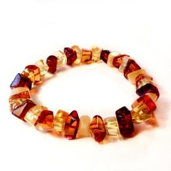 Multicolored amber bracelet - white, cognac, lemon, honey