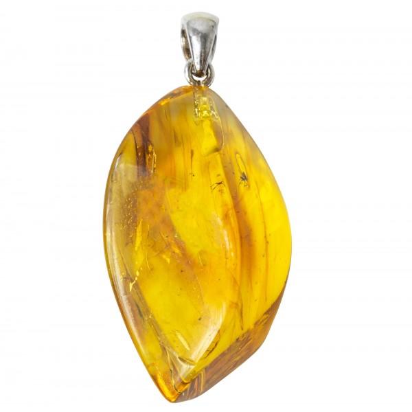 Pendentif ambre véritable avec 2 inclusions d'insecte