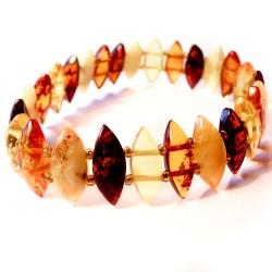 Bracelet en ambre multicolore avec pierres d'ambre losange