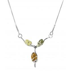 Collier en Argent et trio de Perle d'Ambre - multicolore