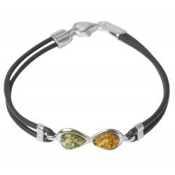Bracelet avec ambre multi-couleur sur silicone