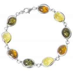 Multicolored amber bracelet and 925/1000 silver