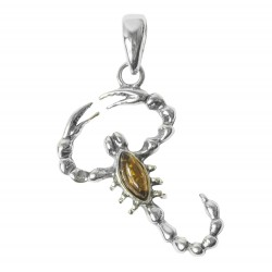 Amber and Silver Lizard shaped pendant