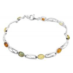 Bracciale in argento e piccoli cabochon ambra