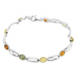 Silver Bracelet and Small Amber Cabochon