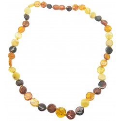 Multicolored natural amber necklace