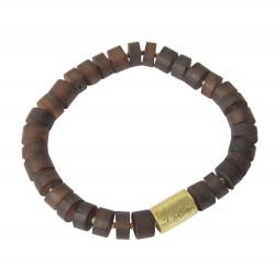 Bracelet d'ambre brut et cylindre plaqué or
