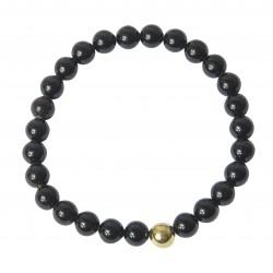 Bracelet perle d'ambre cerise noire & perle dorée