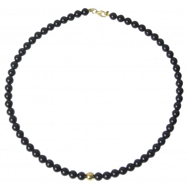 Collier d'ambre cerise noire avec perle dorée