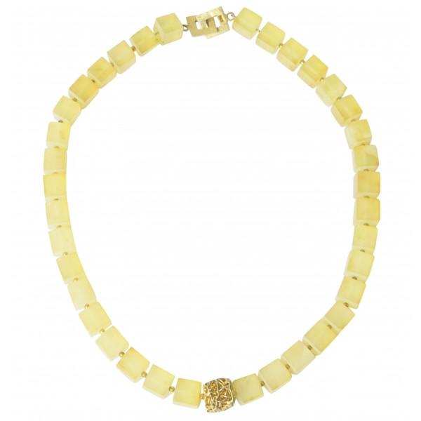Collier créateur en ambre jaune brut et argent plaqué Or