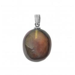 925/1000 ciondolo in argento con bianco ambra foglio sotto forma di pietra