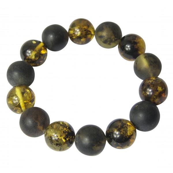Bracelet avec grosses perle d'ambre naturel de couleur verte