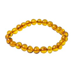 Adult Baroque round pearl amber honey bracelet