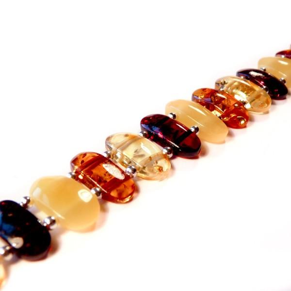 Bracelet en Ambre multicolore, taille ajustable