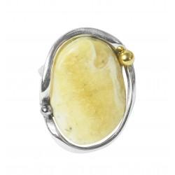 Anello ambra reale e argento 925/1000