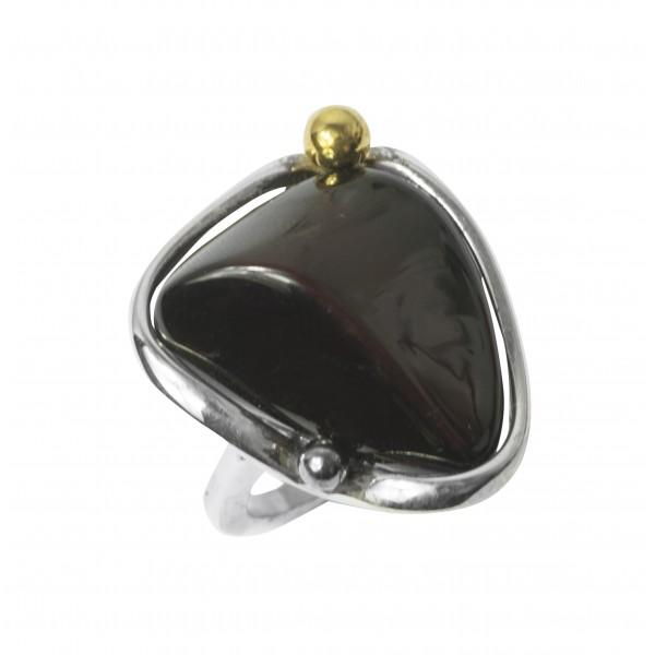 Grande anello ambra ciliegia e argento 925/1000
